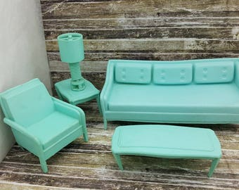 MPC Living Room furniture Doll House Toy Aqua Blue  Soft  Plastic