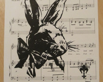 french market french bunny on vintage sheet music