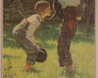Tom Sawyer: The Cause and Treatment of Warts (Norman Rockwell) | ...Morrell's Mark Twain Calendar... (Morrell Pride Beef - March 1946)