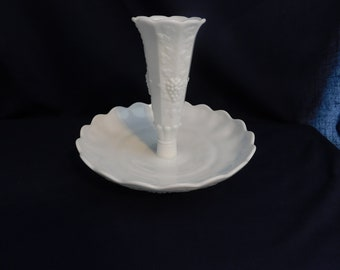 Westmoreland Milk Glass Paneled Grape Epergne  USA  1940-1984 Vintage