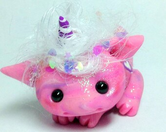 "Pink Bubblegum Trollfling Troll Dragoncorn ""Taffy""  by Amber Matthies"