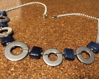 hardware jewelry necklace with stainless steel washers and glass blue beads