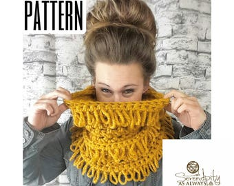 Crochet PATTERN | Loop Stitch Cowl Pattern | Loopy Cowl Pattern | Crochet Loops and Fringe Cowl | Crochet Chunky Cowl Pattern | PDF Download