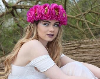 Magenta  peony flower crown, peony flower hairband, floral hairpiece, wedding crown