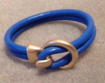 SALE  Leather Cuff Bangle Bracelet Boho Chic Trendy Jewelry Electric Blue Matte Gold Circle Hook Clasp   CL1464A
