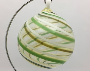 Swirled Christmas Bulb, Hand Blown Glass, Clear with White and Green Swirls Ornament