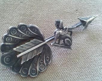 Vintage Sterling Egyptian Revival Brooch Pin