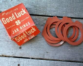 Jar Rings Vintage lot of Ball Good Luck Jar Rubbers for Canning Split Tab in original box