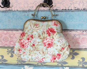 Romantic evening clutch purse with flowers, kiss lock purse, metal frame purse, purse with handle