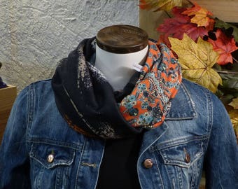 FX33 snood scarf Baroque patterned orange heavy flowing fabric and black beige orange