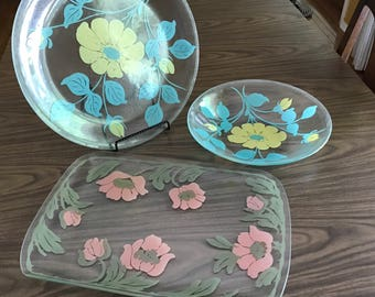 set of 3 large Serving Platters - Mod flowers