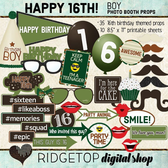Photo Booth Props HAPPY 16TH BIRTHDAY Boy Printable Props
