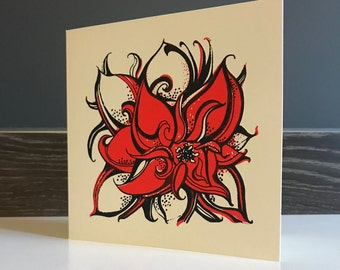 4 Pack - Red Poinsettia Greetings Cards
