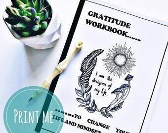 Instant Digital Download • Gratitude Journal • Printable Gratitude • Self Help & Mindfulness Workbook • Printable Journal • Line Art