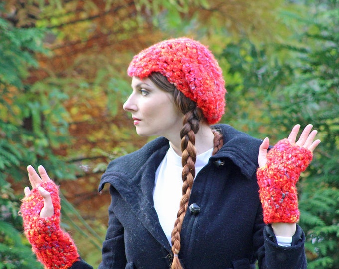 Red Tam Hat and Fingerless Texting Gloves Set  Soft Warm Winter Accessory  Gift for Girls , Teens