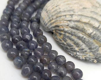 Iolite Round Beads 4 or 7mm / Natural Iolite Beads / Blue Gemstone Beads / Natural  Iolite Gemstone Beads /Violet Blue Gemstone / 3 Beads