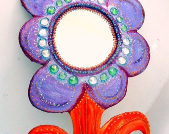 Vanity mirror ' lime ' 48 X 30 cm flower