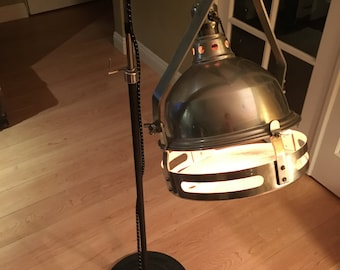 Antique Vintage Industrial Adjustable Chrome and Black Floor Lamp with Red Lighting Glass