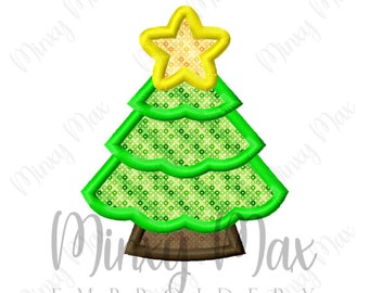 Christmas Tree 4 Applique Machine Embroidery Design 3x3 4x4 5x7 6x10 INSTANT DOWNLOAD