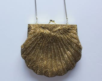 Vintage Gold Glass Bead Art Deco Style Scallop Shaped Clutch Handbag with Shoulder Strap 1950s