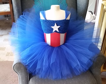 Birthday Captain America Tutu Dress Costume