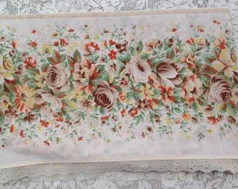 Vintage Double Flat Sheet Earth Tone Floral Linen Bedding Cottage Chic Home Decor by picadillymarket