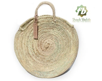 Round Straw Bag Handmade  natural Handles rote : Round basket Round French basket bag Summer Tote Round beach basket Straw Beach bag straw