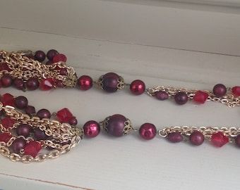 Vintage plastic red bead and Goldtone chain layered necklace 1960s
