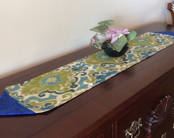 """Ikat Print Table Runner with Blue Border, Reversible Table Runner, Narrow Table Runner, 44"""" Dresser Scarf"""