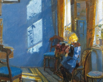 Sunlight In The Blue Room by Anna Ancher,in various sizes, Giclee Canvas Print
