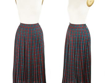 1950s Skirt // Red Green Yellow Tartan Pleated Plaid Wool Skirt