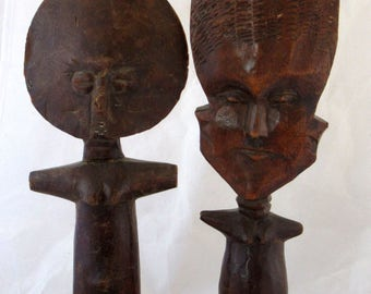 Antique Primitive wood  African statuary, of men and women to fertility ritual. special African ritual wood sculptures hand made