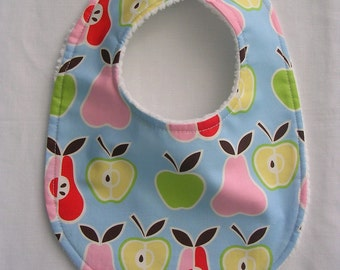 Baby Bib, Baby Girl Bib, Small Bib, Pears & Apples, Baby Boy Bib, infant, baby Bibs, Baby Shower Gift, Bibs