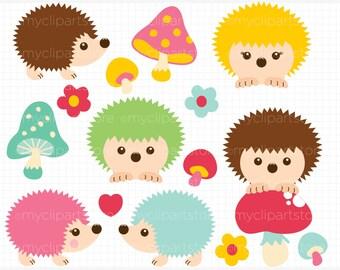 Clipart - Happy Hedgehogs - Digital Clip Art (Instant Download)
