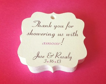 """20 Personalized Favor Tags, 1.75"""", Die cut tags, Wedding tags, Thank You tags, Favor tags, Gift tags"""