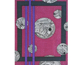 Pink Greeting Card - Blank 5x7 Card - Purple Black Card - Geometric Stationery - Card For Her - Funky Birthday Card - Doodle Drawing - Art