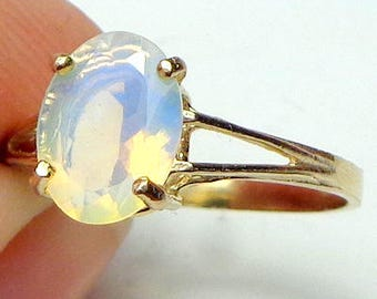 Size 7, Solid 10k Yellow Gold Ring, Ethiopian Welo Opal, Semi-Transparent Color Play Stone, Yellow, Lavender, Blue, Green, Peach Fire, OOAK