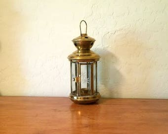 Lantern Candle Holder Brass and Glass Vintage  Hanging