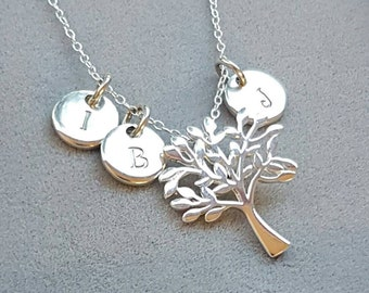 Family tree necklace, mothers day necklace, initial pendant, monogram jewellery, hand stamped pendant, personalised jewellery