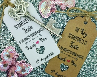 Bottle Opener Wedding Favour Tags, The Key to Happiness is love