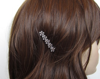 Crystal Small Flowers Hair Accessory Jewelry Comb Clip Black Tone Wedding Bridal Bridemaid Grey Gray Hematite Black