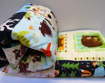 Baby Quilt, Play Mat, Floor Blanket, Traditional Quilted Patchwork
