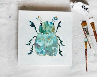 Abstract Original Acrylic Folk Beetle 12 x 12
