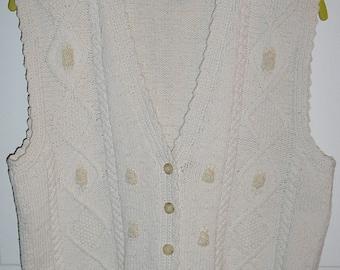 Vintage 80s, cream, linen, cotton, vest, size medium, embroidered, cabled, MINT