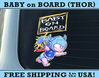 Baby Thor, Baby On Board Bumper Sticker Decal, Thor Ragnarok Decal, Thor Ragnarok Sticker, Baby Thor Decal, Baby Thor Sticker, Thor Baby