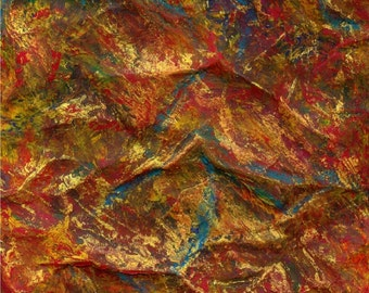 Wall Art Abstract Art Golden Rock 8 X 10 Original Mixed Media Painting