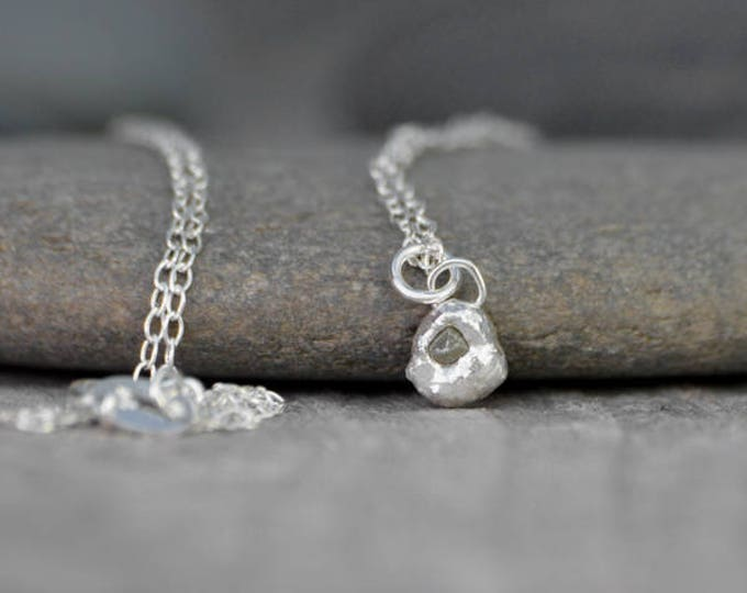 Small Raw Diamond Necklace In Olive Color, Rough Diamond Necklace, Greenish Diamond Necklace, April Birthstone Necklace