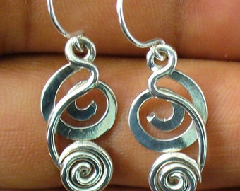 Unique Silver Earrings- Handmade Sterling Silver Dangle Earrings Unique Gift for Her Sterling Silver Dangle Earrings For Women .75 Inch Long