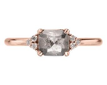 0.85 Carat Grey Emerald Cut Petite Quinn Engagement Ring, 14k Rose Gold