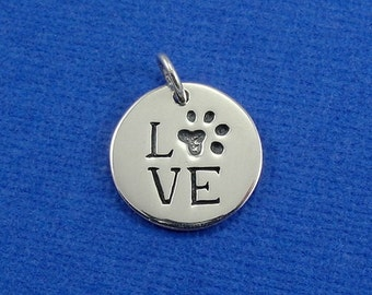 Paw Print Love Charm - Sterling Silver Paw Print Love Charm for Necklace or Bracelet